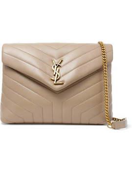 Loulou Medium Quilted Leather Shoulder Bag   Beige by Saint Laurent
