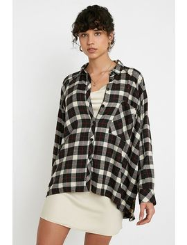 Uo Brendan Black Drapey Flannel Button Through Shirt by Urban Outfitters