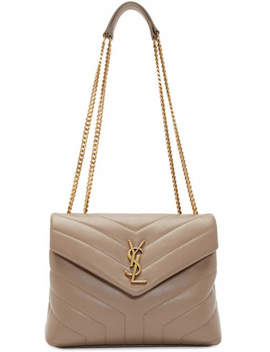 Taupe Small Loulou Bag by Saint Laurent