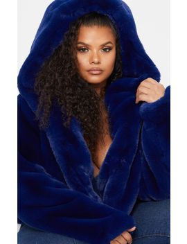 Plus Blue Cropped Faux Fur Hooded Coat by Prettylittlething