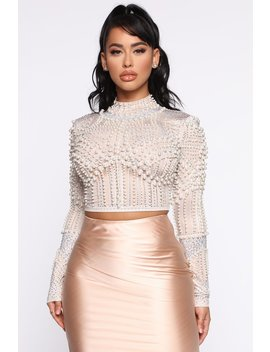 Under The Moonlight Embellished Top   Nude by Fashion Nova
