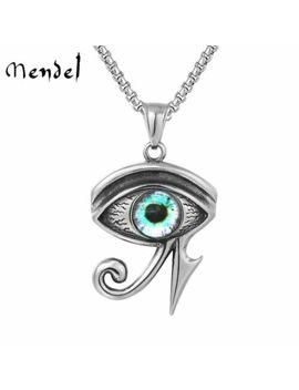 Mendel Egyptian Pyramid Evil Eye Of Horus Ra Pendant Necklace Stainless Steel by Mendel