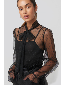 Bow Tie Dotted Mesh Blouse Black by Na Kd Trend