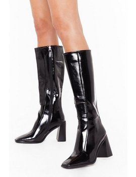 Flare For Dramatics Wide Fit Patent Knee High Boots by Nasty Gal