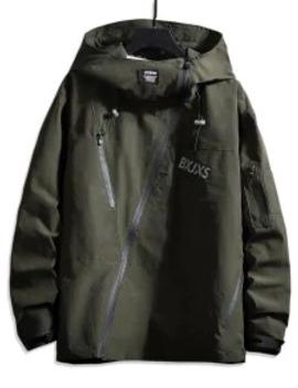 New Front Asymmetric Zip Hooded Drop Shoulder Jacket   Dark Green L by Zaful
