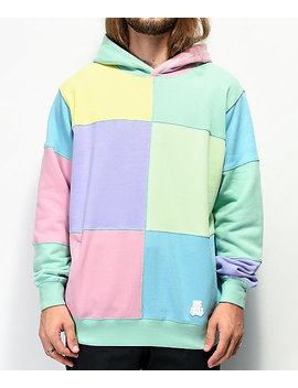 Teddy Fresh Patchwork Sunrise Mint Colorblock Hoodie by Teddy Fresh