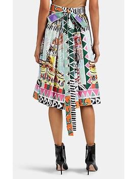 Venice Print Cotton Poplin Skirt by Prada