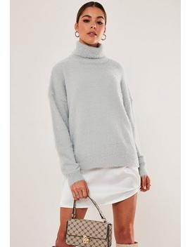 Grey Roll Neck Balloon Sleeve Fluffy Jumper by Missguided