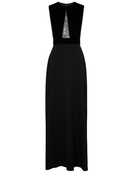 Black Lace Insert Evening Gown by Givenchy
