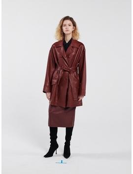 Vegetable Lambskin Leather Coat Burgundy by Mardi Mercredi