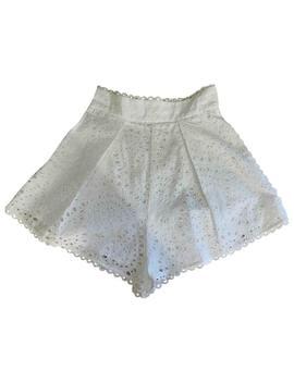 White Cotton Shorts by Zimmermann