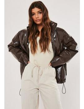 Chocolate High Shine Puffer Jacket by Missguided