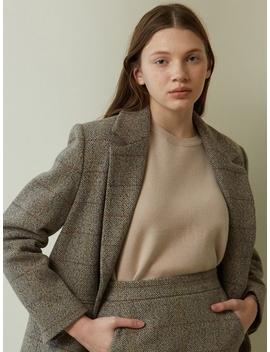 Classic Check Single Wool Jacket Brown Skirt Set by Lookast