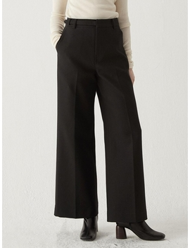 Belted Wide Trousers Black by Bemusemansion
