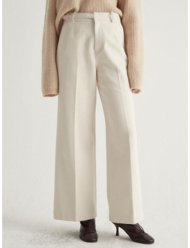 Belted Wide Trousers Ecru by Bemusemansion