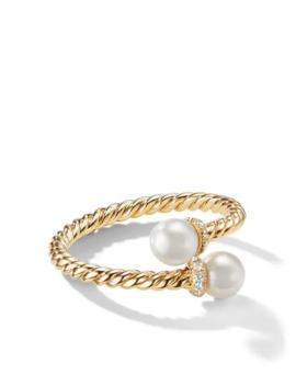 18kt Yellow Gold Petite Solari Bypass Pearl And Diamond Ring by David Yurman