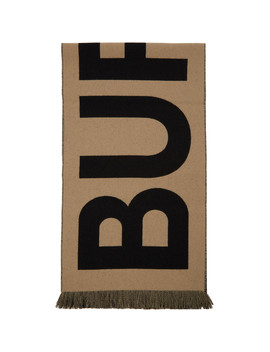 Beige Wool Jacquard Logo Scarf by Burberry