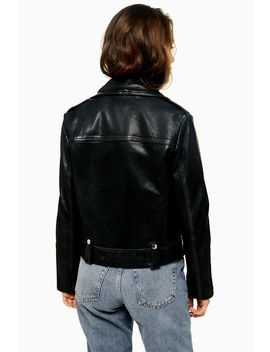 Petite Real Leather Biker Jacket by Topshop