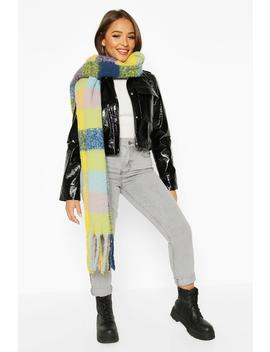 Oversized Bright Check Chunky Scarf by Boohoo