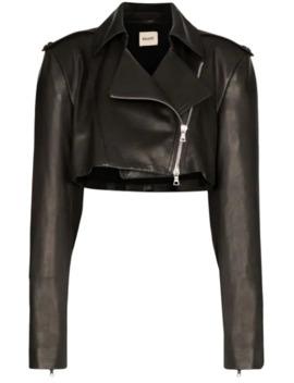 Eduarda Cropped Leather Jacket by Khaite
