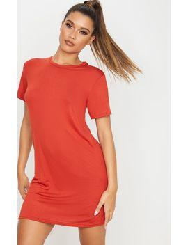 Rust Basic Short Sleeve T Shirt Dress by Prettylittlething