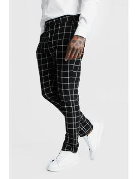 Windowpane Check Smart Formal Trouser by Boohoo
