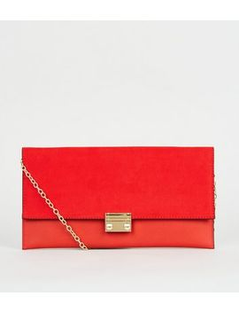 Red Leather Look Suedette Clutch Bag by New Look