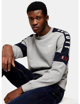 Schott Grey Panel Logo Sweatshirt by Topman