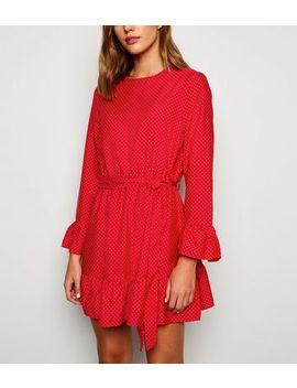 Influence Red Spot Frill Tie Waist Dress by New Look