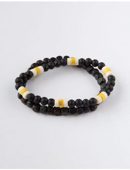 Blue Crown 2 Pack Black & Yellow Beaded Bracelets by Blue Crown
