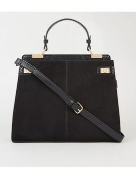 Black Faux Snake Trim Tote Bag by New Look
