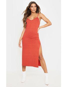 Terracotta Polka Dot Jersey Split Midi Dress by Prettylittlething