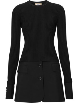 Tailored Hem Rib Knit Wool Mohair Dress by Burberry