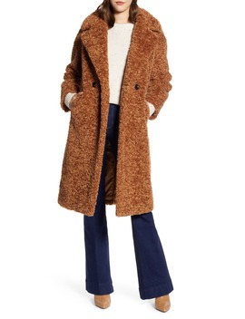 Double Breasted Faux Fur Teddy Coat by Halogen