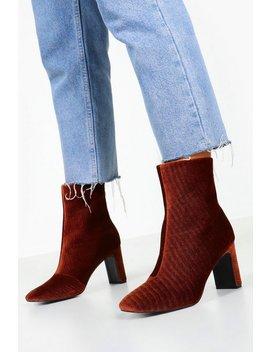 Cord Low Heel Shoe Boots by Boohoo