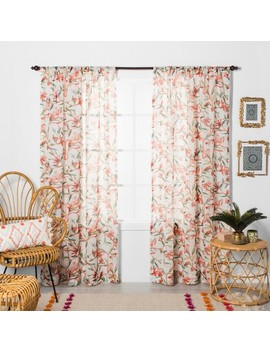 Tropical Floral Sheer Window Curtain Panels   Opalhouse™ by Opalhouse