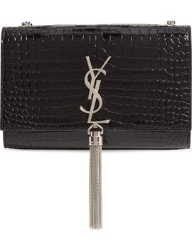 Small Kate Croc Embossed Leather Shoulder Bag by Saint Laurent