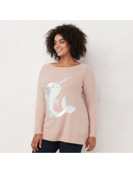 Plus Size Lc Lauren Conrad Graphic Tunic Sweater by Lc Lauren Conrad