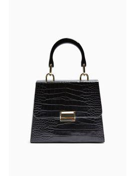 Vintage Black Crocodile Grab Bag by Topshop