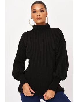 Black Balloon Sleeve Rib Knit Jumper by I Saw It First