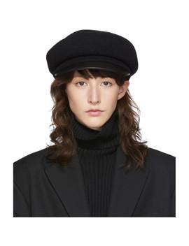 Black Wool Beret Cap by Y's