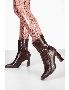 Croc Interest Heel Zip Back Shoe Boots by Boohoo