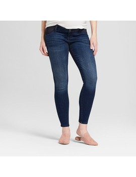 Maternity Inset Panel Skinny Jeans   Isabel Maternity By Ingrid & Isabel™ Dark Wash by Isabel Maternity By Ingrid & Isabel