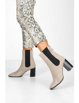 Elastic Panel Block Heel Sock Boots by Boohoo