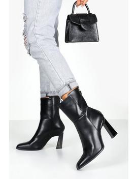 Interest Heel Zip Back Shoe Boots by Boohoo