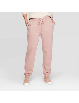 Women's Mid Rise Embroidered Regular Fit Full Jogger Pants   Universal Thread™ Pink by Universal Thread