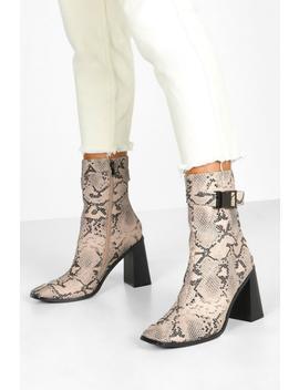 Snake Buckle Detail Block Heel Sock Boots by Boohoo