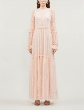 Anya Ruffled Embellished Tulle Gown by Needle And Thread