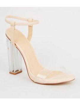 Cream Clear Block Heel Sandals by New Look