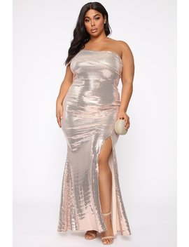 My Time To Shine Maxi Dress   Rose Gold by Fashion Nova